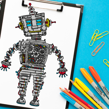 """Steampunk robot coloring page 