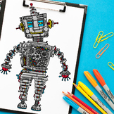 Steampunk robot coloring page | Steampunk adult coloring p