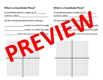 Introduction to Coordinate Plane Notes: What is a Coordinate Plane?