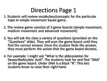 Genetics Terminology Kinesthetic Review Game
