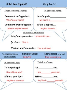 Intro/Greetings Vocabulary Organizer (Bien Dit! 1 Ch. 1)