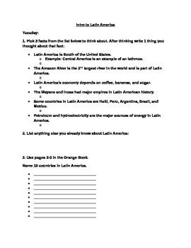 Intro To Latin America Homework