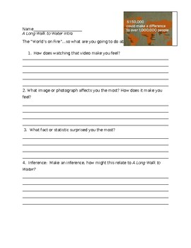 Intro activity for A Long Walk to Water