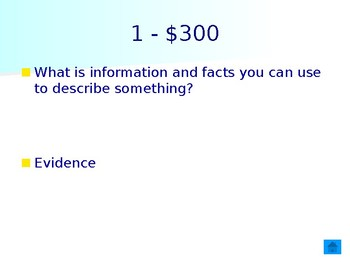 Intro into Science Jeopardy game
