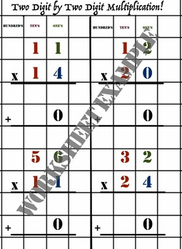 Simple Intro to 2 by 2 Digit Multiplication WITHOUT Carrying. Scaffolded Lesson.
