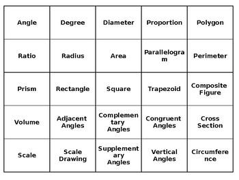Intro to 7th Grade Geometry-Common Core Vocab Activity