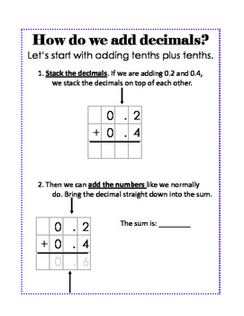Intro to Adding Decimals; Tenths & Hundredths; Modified for Special Ed