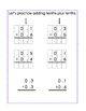 Intro to Adding Decimals; Tenths & Hundredths; Scaffolded for Special Ed