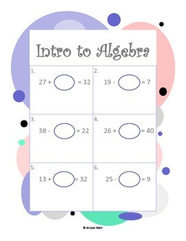 Intro to Algebra - Adding and Subtracting Equations