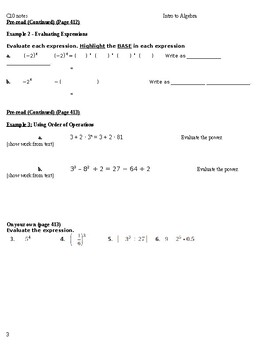Intro to Algebra: Big Ideas Blue Book Chapter 10 - Exponents and Scientific Nota