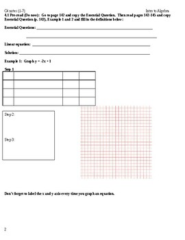 Intro to Algebra: Big Ideas Blue Book Chapter 4 - Graphing and Writing Linear Eq