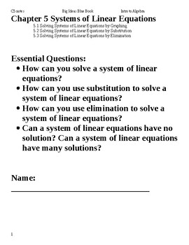 Intro to Algebra: Big Ideas Blue Book Chapter 5 - Systems of Linear Equations
