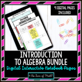 Intro to Algebra: Digital Interactive Notebook Page Bundle