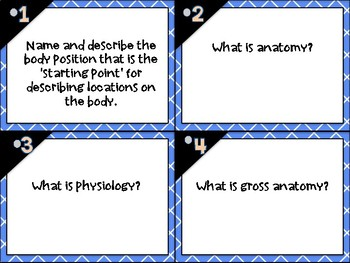 Intro to Anatomy & Physiology/ Medical Terminology Task Cards