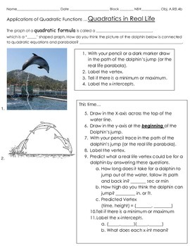 Intro to Applications of Quadratic Functions- A Dolphin Jump