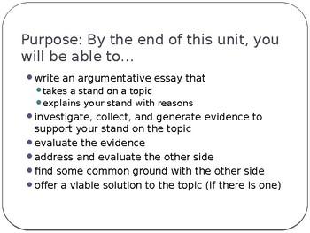 Intro to Argumentative Writing
