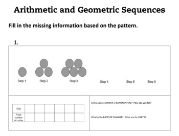 Arithmetic And Geometric Sequences Activities Recursive ...