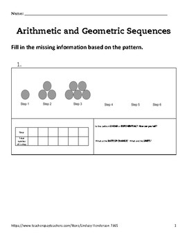 Intro to Arithmetic and Geometric Sequences Lesson 1 of 6