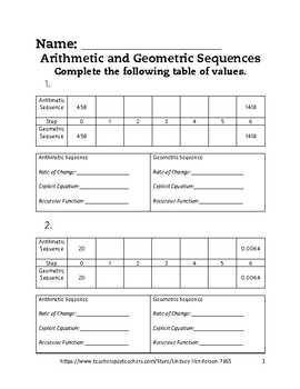 Intro to Arithmetic and Geometric Sequences Lesson 6 of 6