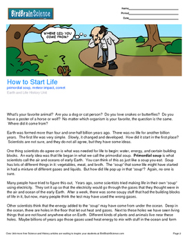 Intro to Earth and Life History, How to Start Life - Engag
