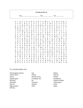 Intro to Astronomy Word Search Puzzle with answer key