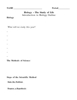 Intro to Biology and Scientific Method Notes Outline Lesson Plan