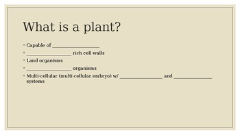 Intro to Botany: Fill in the blank for students
