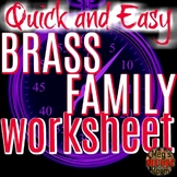 Intro to Brass Family - Printable PDF Worksheet Elementary Music - Use for Sub!