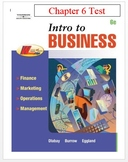 Intro to Business - Chapter 6 Test or Business Test or Bus