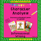 Character Analysis Interactive Notebook Lesson or Lapbook