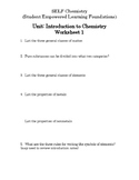 Intro to Chem WS 1 AND Key