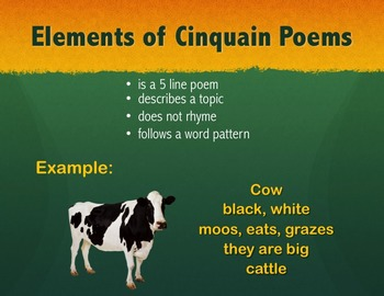 Intro to Cinquain Poetry Powerpoint