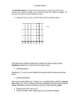 Intro to Coordinate Planes