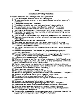 Intro to Daily Writing Journals Worksheet