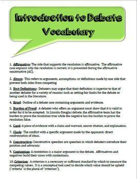 Intro to Debate Vocabulary