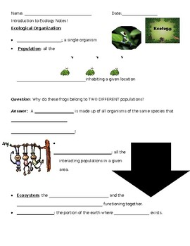 Ecological Organization Guided Notes