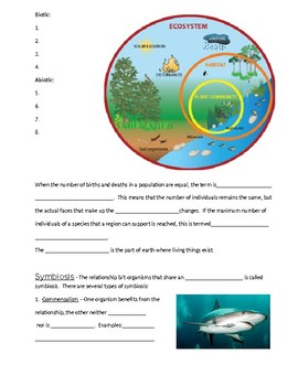 Intro to Ecology Open Notes with KEY