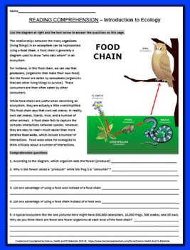 Intro to Ecology Reading Comprehension Worksheet