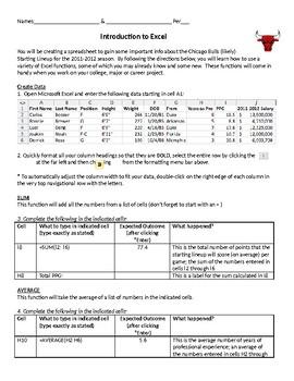 Intro to Excel Activity