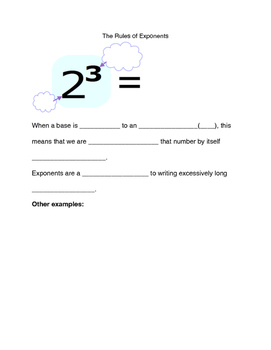 Intro to Exponent Rules Video Notes Sheet