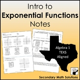 Intro to Exponential Functions Notes (A9A, A9B, A9D)