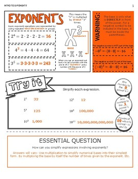 Intro to Exponents Guided Notes