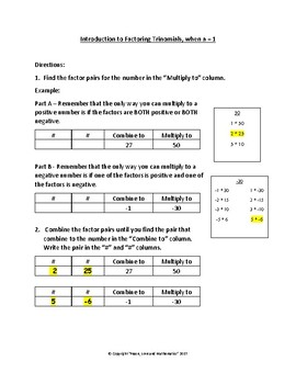 Intro to Factoring Trinomials when a=1