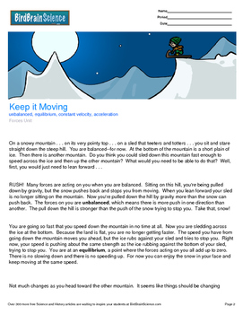 Intro to Forces, Keep it Moving - Engaging Science Reading