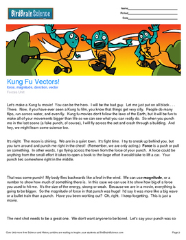 Intro to Forces, Kung Fu Vectors! - Engaging Science Reading