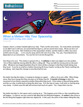 Intro to Forces, When a Meteor Hits Your Spaceship - Engaging Science Reading