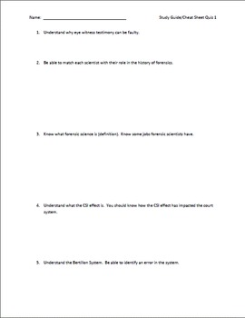 Intro to Forensics Quiz - Student Cheat Sheet