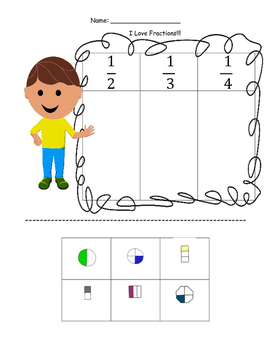 Intro to Fractions Cut and Paste Activity