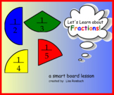 Intro to Fractions Math SmartBoard Lesson Primary Grades