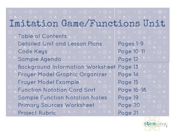 Intro to Functions Unit Plan--Project Based Learning 8th Grade Math and Algebra